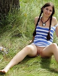 Perfect Long Haired Babe Strips Her Summer Dress Flashing Her Nice Boobs And Sweet Pussy.