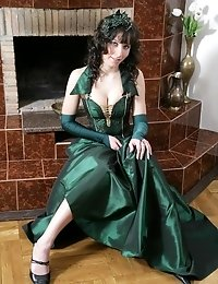Regal-looking Awesome Brunette Wearing A Splendid Evening Dress Exposes Her Nude Gorgeous Breasts An