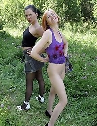 Hot lesbian pantyhose outdoor action!