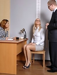 HR managers test a female candidate in glasses