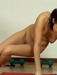Naked babe in erotic gymnastics and fitness