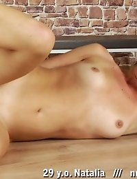 Naked gymnastics and masturbation by a brunette girl
