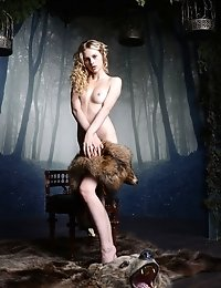 Petite Blonde Babe Showing Off Her Tight Teen Pussy On The Back Of Her Slain Bear, Because She Loves