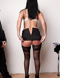 Huge-titted candidate stripped to the black stockings