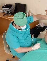 Naked babe at the physical and gynecological exams