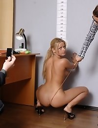 First nude job interview of a blonde secretary