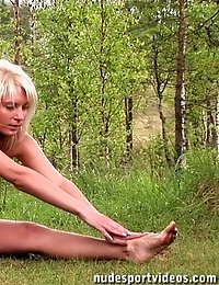 Seated and standing naked outdoor exercises