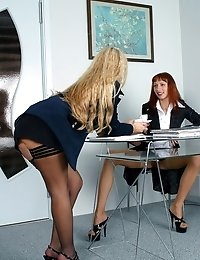 Passionate lesbian games of two slutty secretaries
