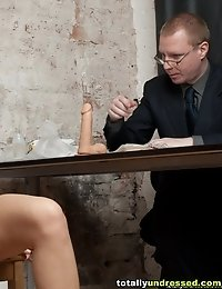 Nude interview with a small-titted brune candidate