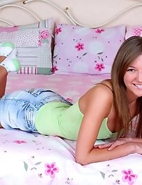 Skinny Teen Babe Splits Her Legs In Her Bedroom Where She Gets Naughtier Than Ever While She Pleases