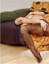 Nikol is very hot in patterned pantyhose