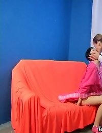 Gymnast girl gets undressed and trained by a lesb