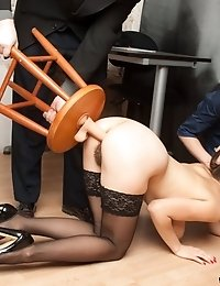 Office sex domination of two crazy staff clerk