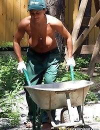 Naked busty made to do dirty work