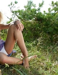 Absolutely Incredible Teen Model Stripping And Posing In The Nude Outdoors On The Nature.