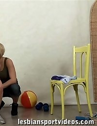 Sex-starved mistress exercises and toys a big-titted gymnast