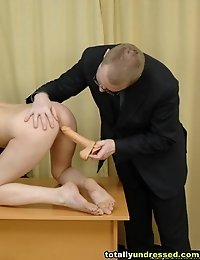 Nude secretary tested at her hardcore workplace