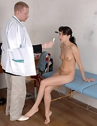 Ashamed bare cutie and pushy male doc