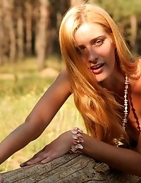 Looking At This Wonderful Long-haired Beauty As She Is Lying Nude On The Old Dead Tree You Are Sure
