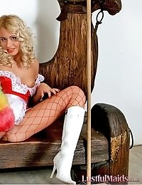 Hot blonde maid Camilla shows off selflessly