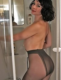 Isabel playing with wet pantyhose