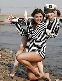 Charming Bold Angels Wear Sailors Striped Vests And Posing Without Panties Near The Bridge.