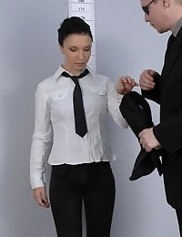 Ambitious girl undressing for a high-paid job