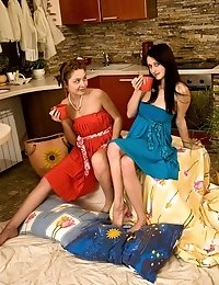 Hot teen girls playing with toys and each othe3r