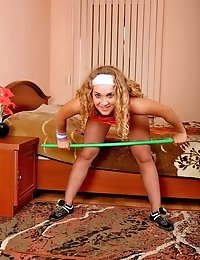 Sexy blondie does workouts in tan pantyhose
