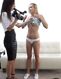 Mila Jade Does Her First Casting Interview With Horny Hollie Mack Who Cant Wait To Fuck And Suck Her