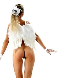 Gorgeous Teen With White Wings On Her Back And White Gloves On Her Hands Posing Naked