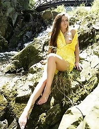 Sexy Long Haired Babe Takes Her Time To Take Her Sex Yellow Robe That Is Covering Her Pink Little Pu