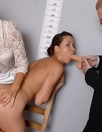 Nasty staff clerks toy-fucking a stripped girl