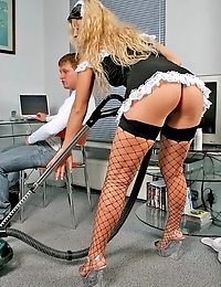 Hot blonde maid Kristal seducing Eric with her black fishnet stockings