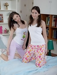 Two gorgeous teens pleasing one horny dick