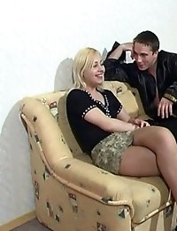 Horny blonde in pantyhose and her lover