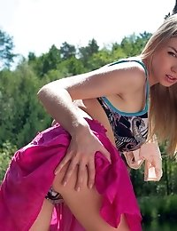 This Stunning Blonde Gives Something Back To Nature With Her Hot Pussy And Big Breasts As She Does T