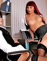 Two hot secretaries Red and Karolina posing nude in front of camera