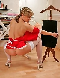 White stockings and high heels and cute little red dress