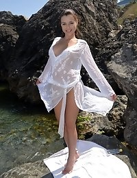 Perfect Teen Stripping Sexy Translucent Dress And Spreading Her Slim Legs At The Seaside.