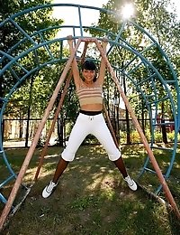 Pantyhose gymnast goes in for outdoor climbing