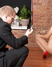 Secretary passes a toy DP test at the nude interview