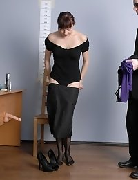 Perverted nude and dressed job interview