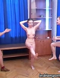 Two girls trained and seduced by a lesbian
