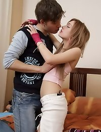 Horny teen riding pecker and begging for more