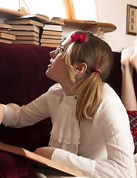 A Glamorous Blonde Schoolgirl Both Learns And Teaches Us Lessons In Some Naughty Business With Her H