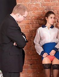 Shocked secretary obeys two staff managers