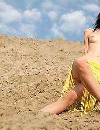 Brunette Girl Posing Her Natural Beauty And Walking Around In A Desert Being Naked