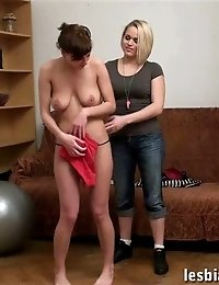 Nude collared sexpot exercised by a lesbian mistress