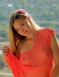 Hot Teen Beauty Gets Naught High On The Mountains Where She Strips Off Her Sexy Summer Clothes To Sh